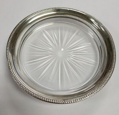 "Frank M. Whiting Sterling Silver Beaded Rim Crystal Glass 4.5"" Wine Coaster"