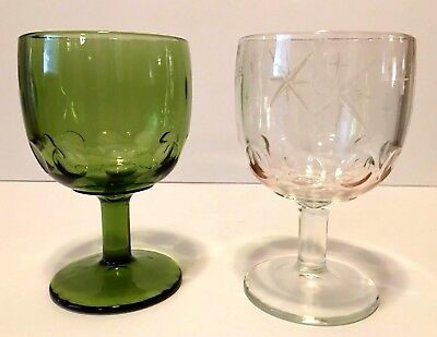 Vintage Set Of 2 Thumbprint Bartlett Collins Goblets Clear Starburst & Green