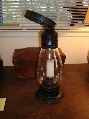 Whale Oil Lantern Antique Punched Tin, Glass, OLD & beautiful lamp