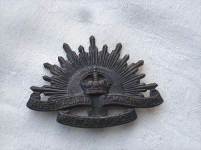 Vintage Australian RISING SUN Hat? BADGE - Commonwealth Military Forces, Army...