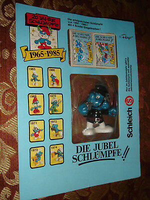 Smurf Jubilee Smurfs Promo 1981 Police Figure 20th Anniversary Sealed On Card