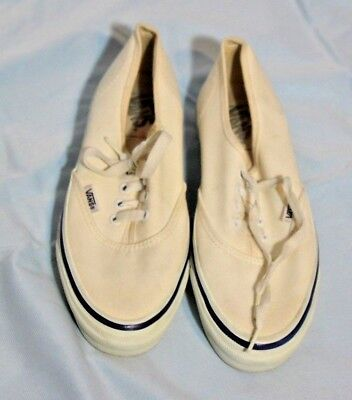 Vintage VANS Made in USA Sneakers Skateboard Shoes Size 7.5 WOMENS White Canvas