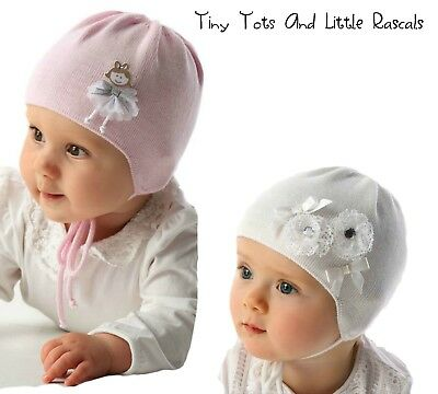 Baby Girls Spring Autumn Cotton Elastic Knitted Hat Cap Christening Babtism