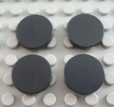 LEGO Lot of 4 Black 2x2 Round Smooth Flat Tiles
