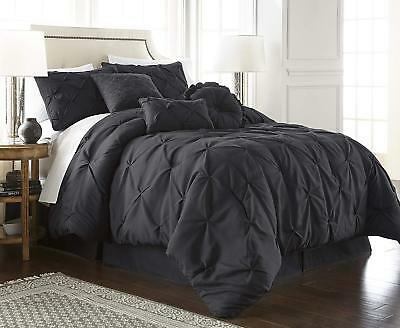 Chezmoi Collection Sydney 7-Piece Black Pinch Pleat Pintuck Style Comforter Set