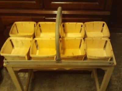 8 Wooden Straw Berry Baskets And Aluminum Tray