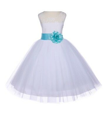 White Wedding Bridal Pageant Flower Girl Dress Lace Floral Pageant Dress Toddler