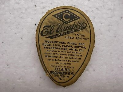 Vintage El Vampiro Pest Killer Allaire Woodward 7 Co. Peoria ILL Pat Applied For