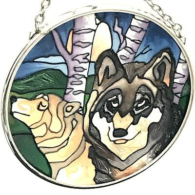 Vintage Wolf Stained Glass Sun Catcher Ornament Window Hanging Round 3.4""