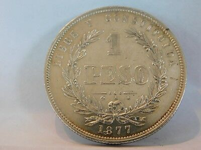 1877 A Uruguay 1 Peso KM#17 .917 Silver Crown Scarce One Year Issue Buenos Aires