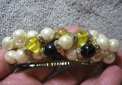 Vtg New Old Stock Pearl Beaded Hair Barrette French Clip Retro 70's 80's