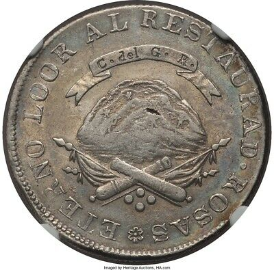 1846 Argentina 4 Reales La Rioja NGC AU53 Lustrous and Toned!