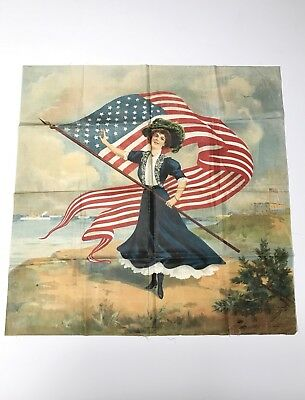 """Rare 1900's Schwab & Wolf """" American Girl"""" Patriotic Lithographed Textile"""