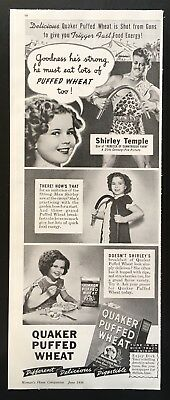 1938 Shirley Temple Quaker puffed wheat Strong Man Shirley vintage print ad