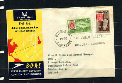 Colombia 1960 Boac Souvenir Stamp Cover First Flight Bogota To London Lot 113