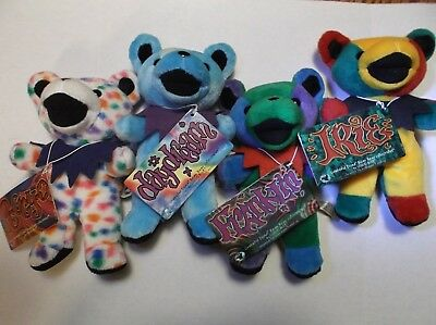 Vtg 1998 Edition/Series 2 Grateful Dead Bean Bear Lot of 4 Retired Liquid Blue