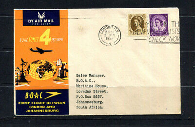 Gb 1959 Boac Souvenir Stamp Cover First Flight London To Johannesburg Sth Africa