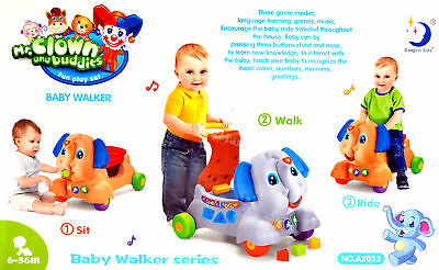 New 6 months+ Toddler 3 in 1 Baby Walker & Ride On Toy Elephant #A2033 2 Colors
