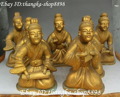 """10"""" Bronze Gold Gilt Ancient Dynasty Musician People Musical Instrument Set"""