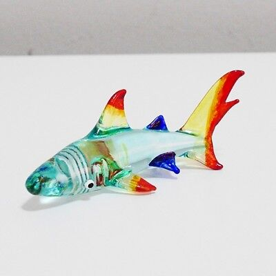 Blue Shark Figurine Animal Hand Paint Blown Glass Home Decor Collectible Gift 2