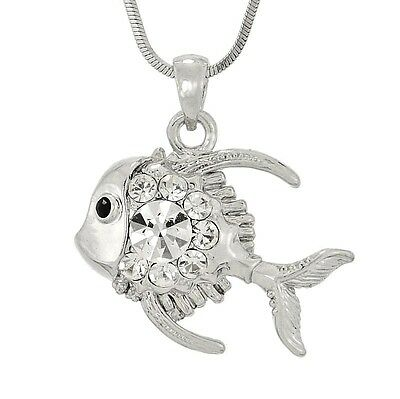 "FISH W Swarovski Crystal Aquarium Ocean Sea Charm Pendant Necklace 18"" Chain"
