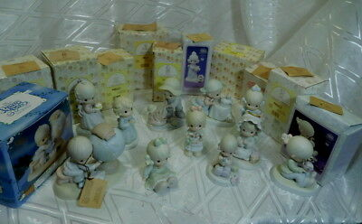 Lot of 11 Vintage Precious Moments Enesco porcelain figurines mint in box 1990's