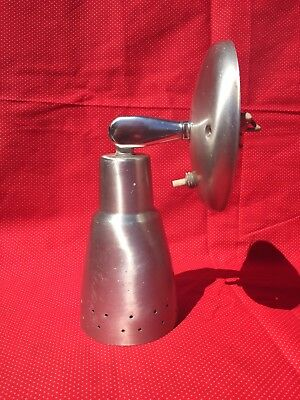 VTG MCM Atomic Brushed Silver Perforated Cone Light Wall Sconce Fixture
