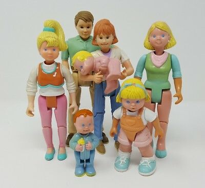 Fisher Price Loving Family Dolls Lot of 6 Mom Dad Teen Sister Baby Boy Girl 1993
