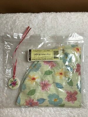 Longaberger 2009 Mother's Day basket fabric liner / jewelry bag AND tie-on