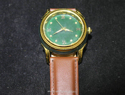 23cm China Natural Old jade He Tian jade Hand engraving Male models Watch