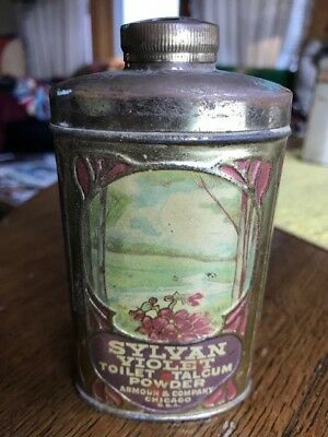 Vintage Armour Chicago Sylvan Violet talcum Talc powder tin Can