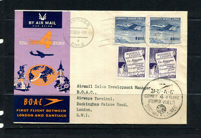 Chile 1960 Boac Souvenir Stamp Cover First Flight Santiago Chile To London 118
