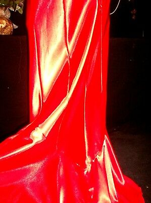 Vtg Satin Shiny Celebrity Train Hollywood Glam Negligee Lacy Nightgown Tall M