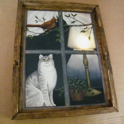 FRAMED Cat cardinal lighted LED Lamp canvas cats wall picture lit decor sign