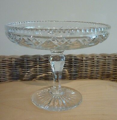 Vintage STUART Cut Lead Crystal Footed Compote / Tazza