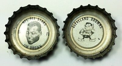 Hall of Famer Jim Brown and Cleveland Browns 1960s Coca Cola bottle caps