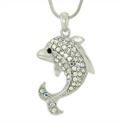 "DOLPHIN Made With Swarovski Crystal AB Clear Ocean Beach Sea 18"" Chain Necklace"
