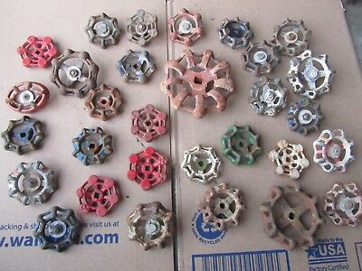 Vintage WATER FAUCET KNOBS HANDLES INDUSTRIAL CAST IRON LOT of 30 Old