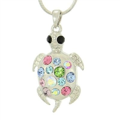 "TURTLE W Swarovski Crystal Sea Ocean Multi Color Pendant Necklace 18"" Chain"