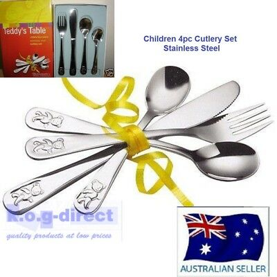 WHITEHILL TEDDY KIDS CHILDREN 4 Pcs CUTLERY SET STAINLESS STEEL TEDDY'S TABLE