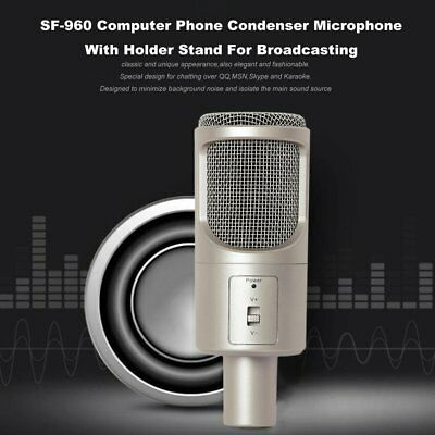 S-960 Computer Phone Condenser Microphone With Holder Stand or Broadcasting AQ
