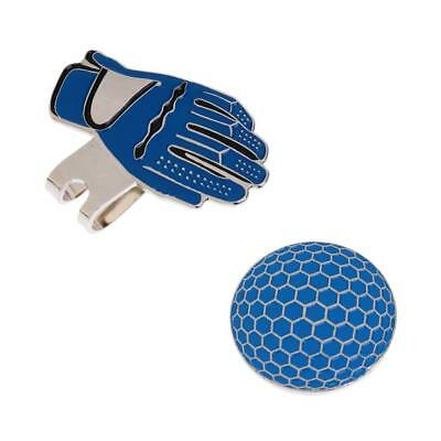 Novelty Golf Gloves Pattern Magnetic Hat Clip with Golf Ball Marker Blue