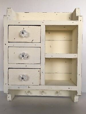 Primitive French Country Farmhouse  Aged Shabby Chic Spice Drawer Cubby Cabinet