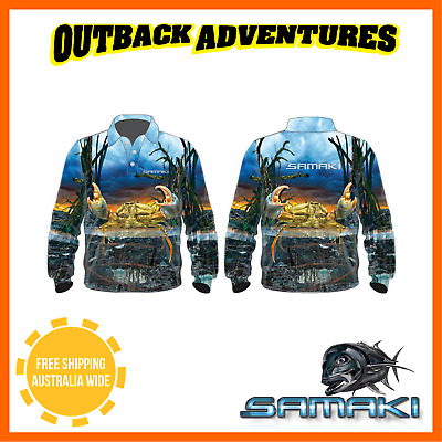 Samaki Mud Crab Long Sleeve Fishing Shirt - Adult Size - 5 Xl