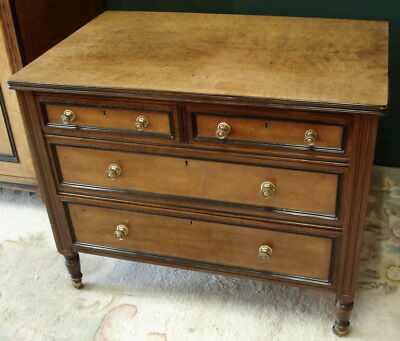 Burr Maple & Elm Edwardian chest of drawers