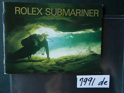 Rolex  SUBMARINER BOOKLET / Bedienungsanleitung   DE- 1991