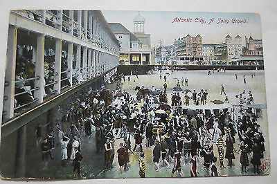 Atlantic City- A Jolly Crowd Post Card with One Cent  Stamp-May 25,1908