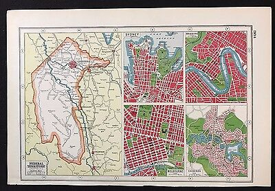 Vintage Map 1920, Federal Territory, Australia - Harmsworth's Atlas - A3BK3