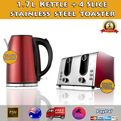 Red 1.7L Kettle and 1600W 4 Slice Toaster