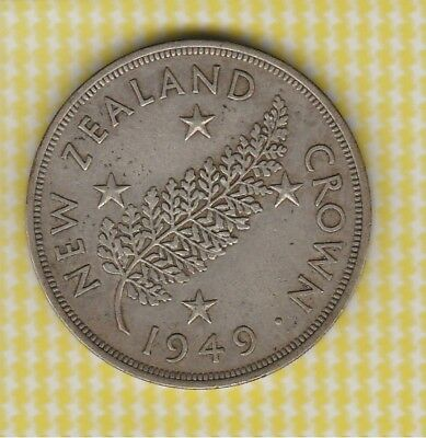 1949 New Zealand Silver Crown. Free Post in Bubble Env Aust Only